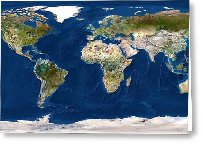 Cartographical Greeting Cards - Whole Earth Map Greeting Card by Planetobserver