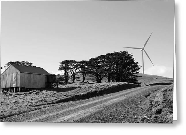 Black Power Greeting Cards - Wind turbine Greeting Card by Les Cunliffe