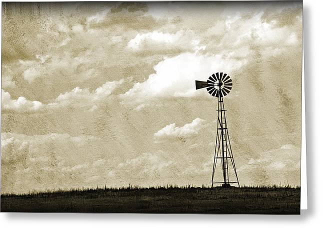 Blue Green Water Greeting Cards - Windmill  Greeting Card by Malania Hammer