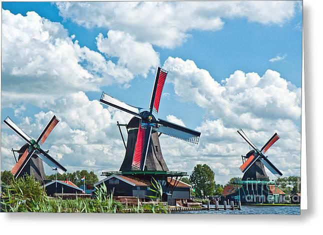 Dutch Culture Greeting Cards - 3 Windmills Greeting Card by Jim Chamberlain