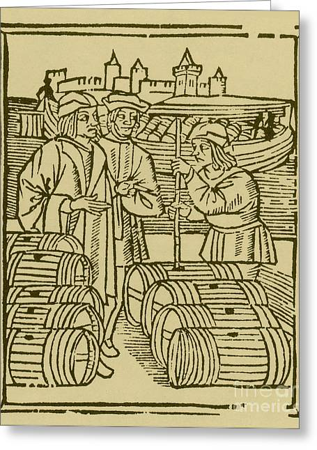 Vintner Greeting Cards - Wine Merchant, Medieval Tradesmen Greeting Card by Science Source
