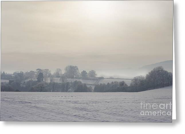 Foggy Day Greeting Cards - Wintery Landscape Greeting Card by Angel  Tarantella
