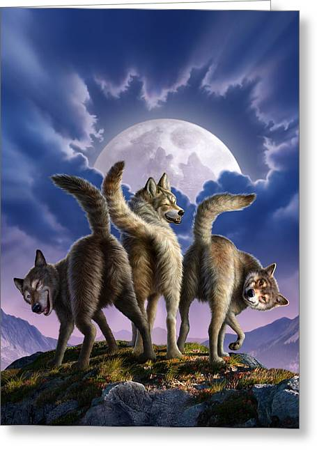 Wolves Greeting Cards - 3 Wolves Mooning Greeting Card by Jerry LoFaro
