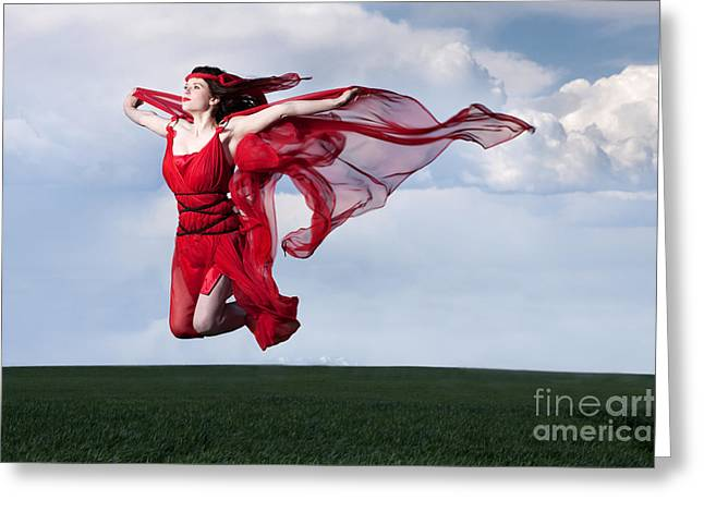 Oath Greeting Cards - Woman in Red Series Greeting Card by Cindy Singleton
