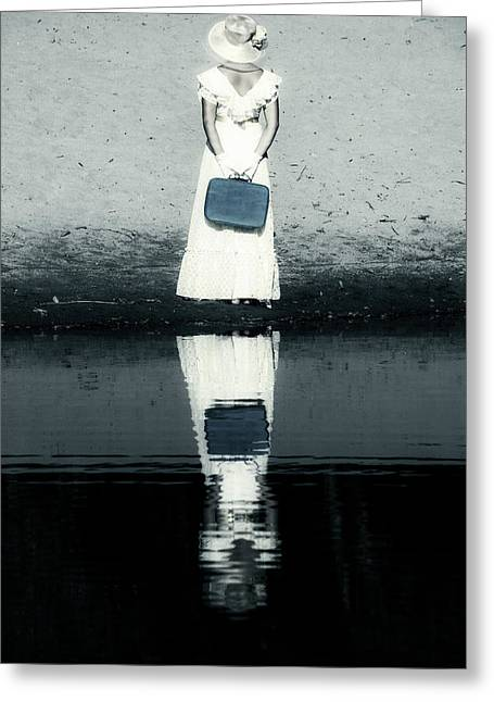 Anonymous Greeting Cards - Woman With Suitcase Greeting Card by Joana Kruse