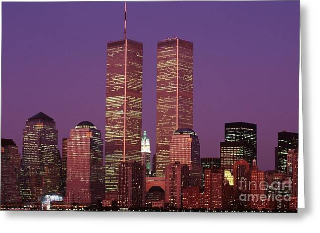 Twin Towers Trade Center Greeting Cards - World Trade Center Twin Towers Dusk New York City Greeting Card by Antonio Martinho