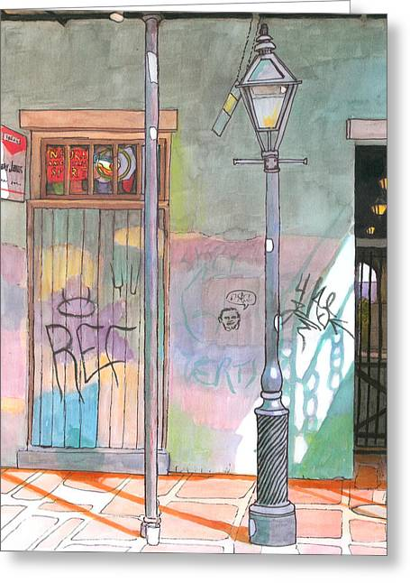 Cajun Drawings Greeting Cards - 30  French Quarter Graffiti  Greeting Card by John Boles