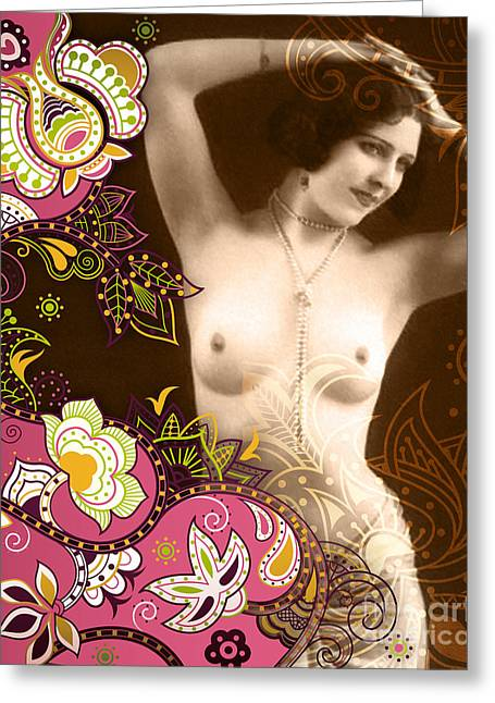 Floral Digital Digital Mixed Media Greeting Cards - Goddess Greeting Card by Chris Andruskiewicz