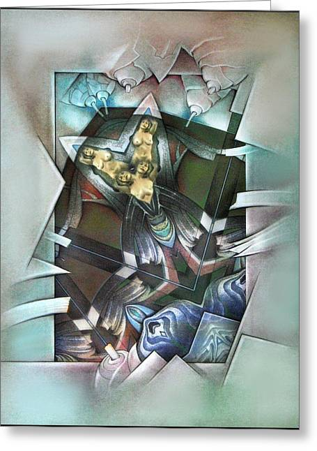 Physical Body Mixed Media Greeting Cards - #30 Twinude 2003 Greeting Card by Glenn Bautista