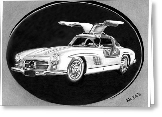 Charcoal Car Greeting Cards - 300 SL Gullwing Greeting Card by Peter Piatt