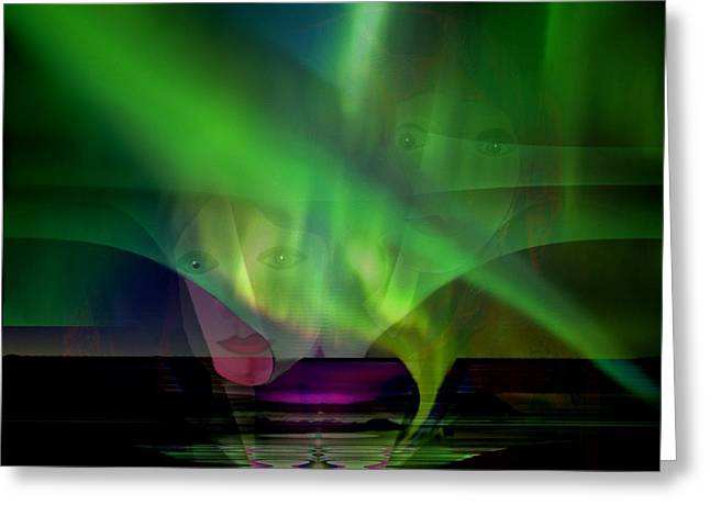 Hidden Face Greeting Cards - 308 - Aurora australis   Greeting Card by Irmgard Schoendorf Welch