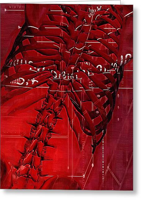 Physical Body Greeting Cards - Torso Skeleton Greeting Card by Joseph Ventura