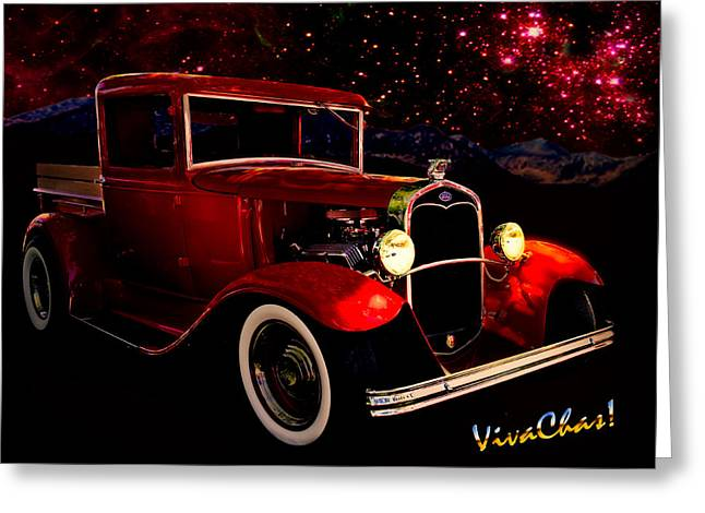 32 Ford Truck Greeting Cards - 32 Ford Pickup Starlight Greeting Card by Chas Sinklier
