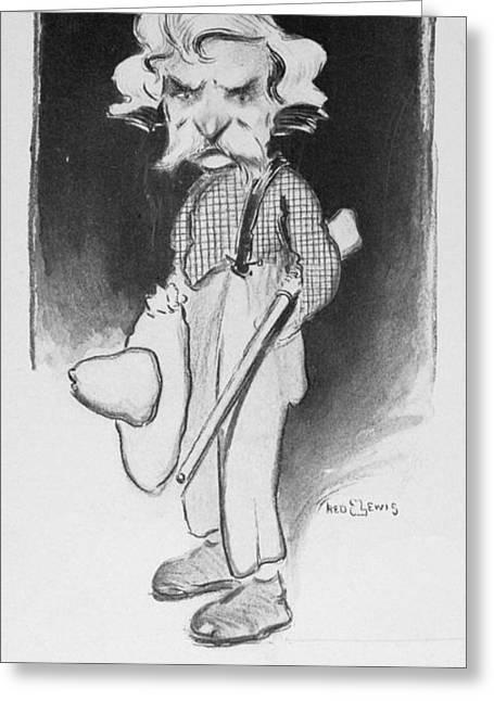 Suspenders Greeting Cards - Samuel Langhorne Clemens Greeting Card by Granger