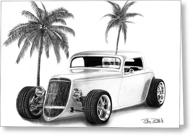 Charcoal Car Greeting Cards - 33 Ford Coupe Greeting Card by Peter Piatt
