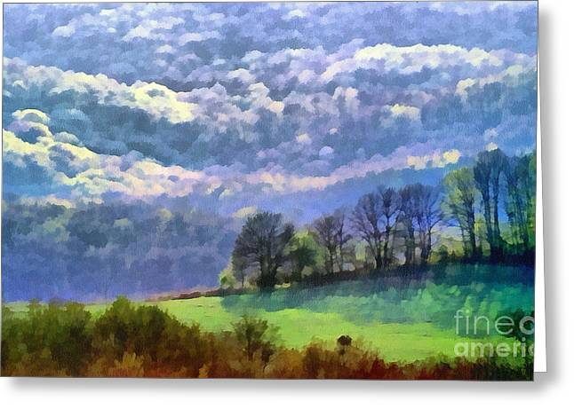 Dewdrops Paintings Greeting Cards - Landscape Greeting Card by Odon Czintos