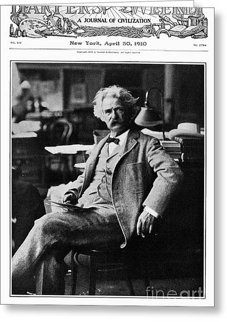 Magazine Pages Greeting Cards - Samuel Langhorne Clemens Greeting Card by Granger