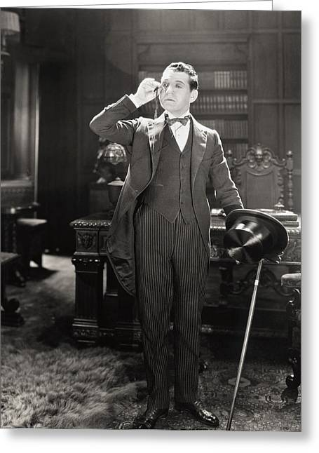 Tuxedo Greeting Cards - Silent Film Still: Offices Greeting Card by Granger