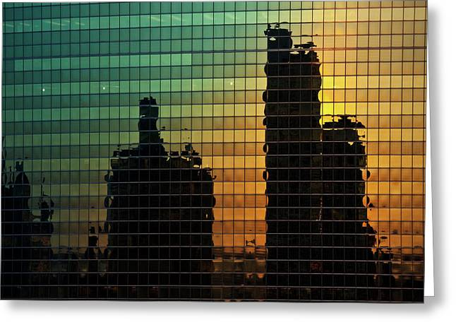 Chicago Reflections Greeting Cards - 333 Wacker Reflecting Chicago Greeting Card by Steve Gadomski