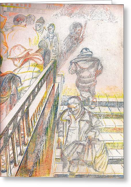 Conversations Pastels Greeting Cards - 34th Street Subway Entrance  NYC Greeting Card by Al Goldfarb