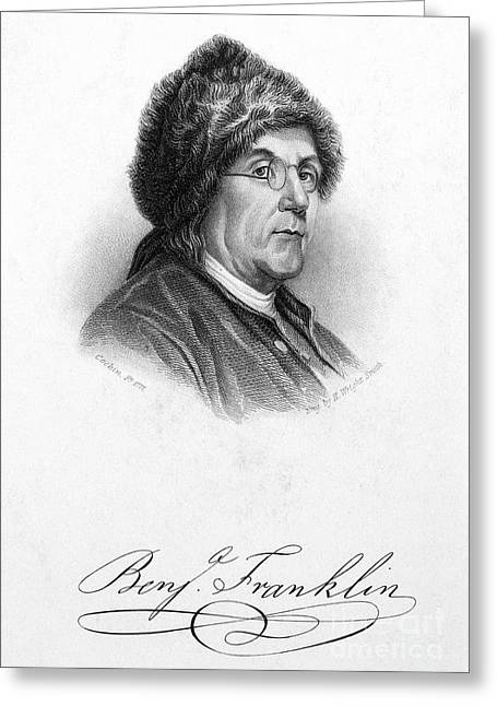 Autograph Greeting Cards - Benjamin Franklin (1706-1790) Greeting Card by Granger