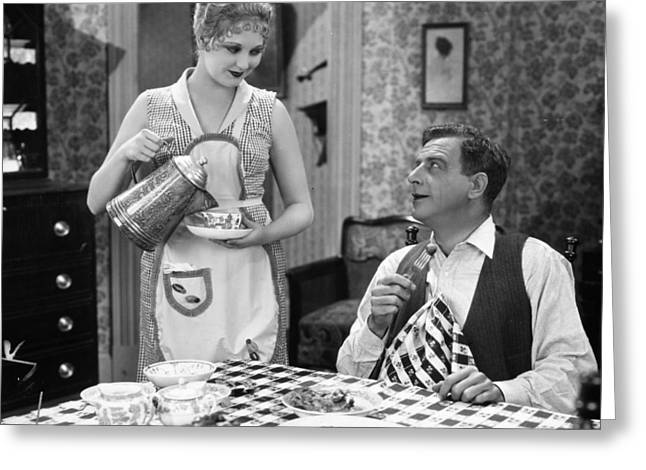 Apron Greeting Cards - Film Still: Eating & Drinking Greeting Card by Granger