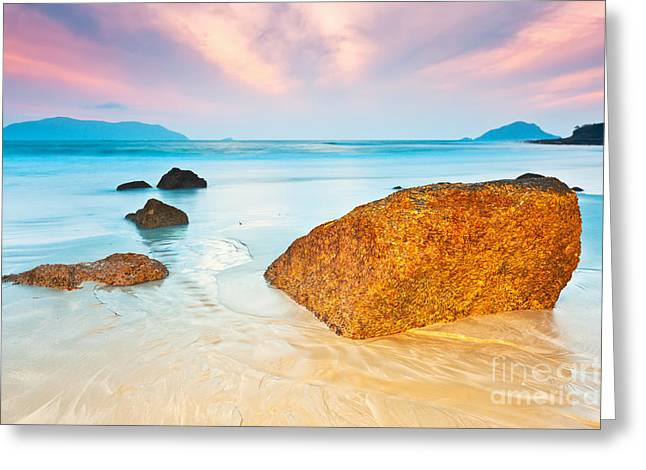 Ocean Shore Greeting Cards - Sunrise Greeting Card by MotHaiBaPhoto Prints