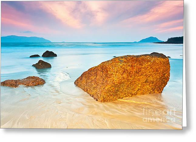 Beach Scenery Greeting Cards - Sunrise Greeting Card by MotHaiBaPhoto Prints
