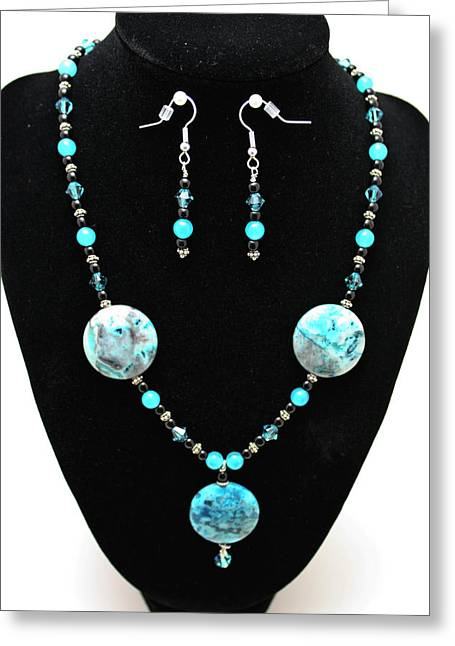 Handmade Silver Jewelry Jewelry Greeting Cards - 3508 Crazy Lace Agate Necklace and Earrings Greeting Card by Teresa Mucha