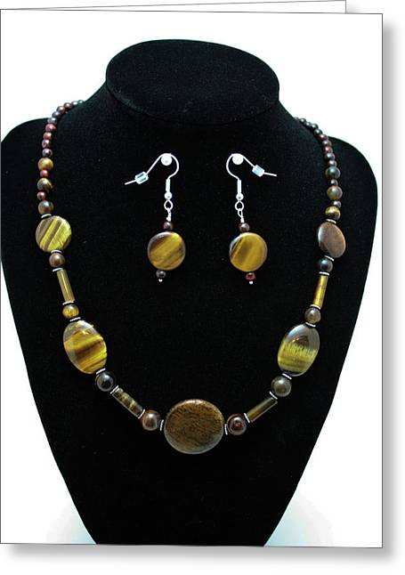 Handmade Silver Jewelry Jewelry Greeting Cards - 3510 Tiger Eye Set Greeting Card by Teresa Mucha