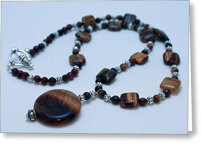 Silver Necklace Jewelry Greeting Cards - 3516 Tiger Eye Necklace  Greeting Card by Teresa Mucha