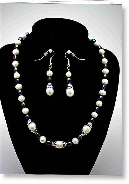 Beaded Jewelry Jewelry Greeting Cards - 3531 Freshwater Pearl Necklace and Earring Set Greeting Card by Teresa Mucha
