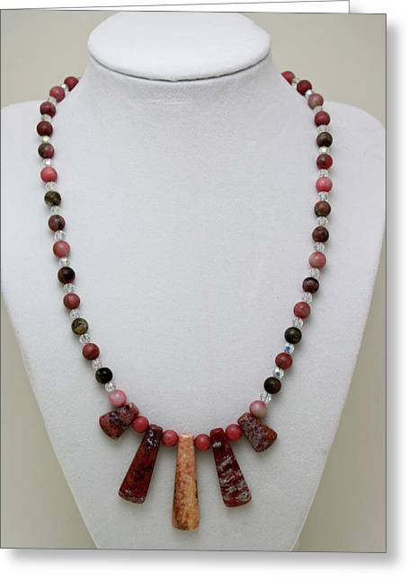 Handmade Necklace Greeting Cards - 3541 Rhodonite and Jasper Necklace Greeting Card by Teresa Mucha