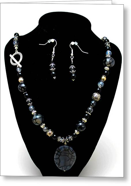 Handmade Silver Jewelry Jewelry Greeting Cards - 3545 Black Cracked Agate Necklace and Earring Set Greeting Card by Teresa Mucha