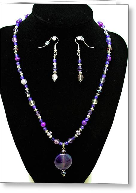 Handmade Silver Jewelry Jewelry Greeting Cards - 3546 Purple Veined Agate Set Greeting Card by Teresa Mucha