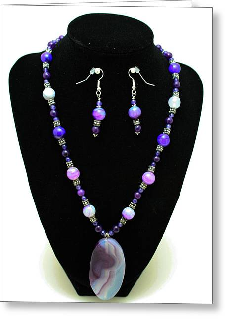 Handmade Silver Jewelry Jewelry Greeting Cards - 3547 Purple Veined Agate Set Greeting Card by Teresa Mucha
