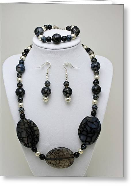 Handmade Silver Jewelry Jewelry Greeting Cards - 3548 Cracked Agate Necklace Bracelet and Earrings Set Greeting Card by Teresa Mucha