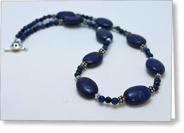 Lapis Lazuli Jewelry Greeting Cards - 3553 Lapis Lazuli Necklace and Earrings Set Greeting Card by Teresa Mucha