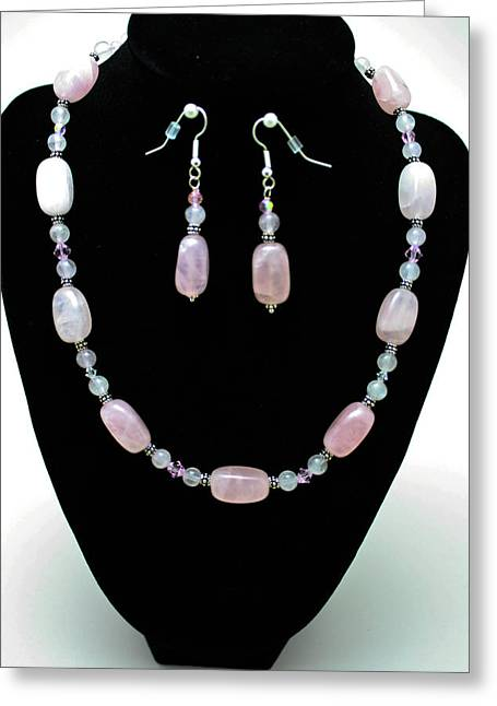 Handmade Silver Jewelry Jewelry Greeting Cards - 3558 Rose Quartz Set Greeting Card by Teresa Mucha
