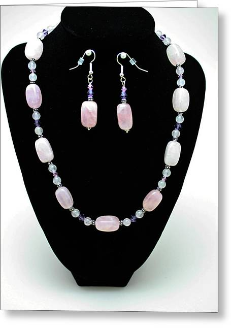 Handmade Silver Jewelry Jewelry Greeting Cards - 3560 Rose Quartz Necklace and Earrings Set Greeting Card by Teresa Mucha
