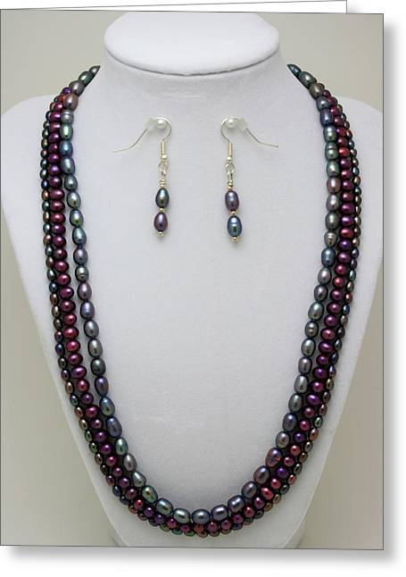 Handmade Necklace Greeting Cards - 3562 Triple Strand Freshwater Pearl Necklace Set Greeting Card by Teresa Mucha