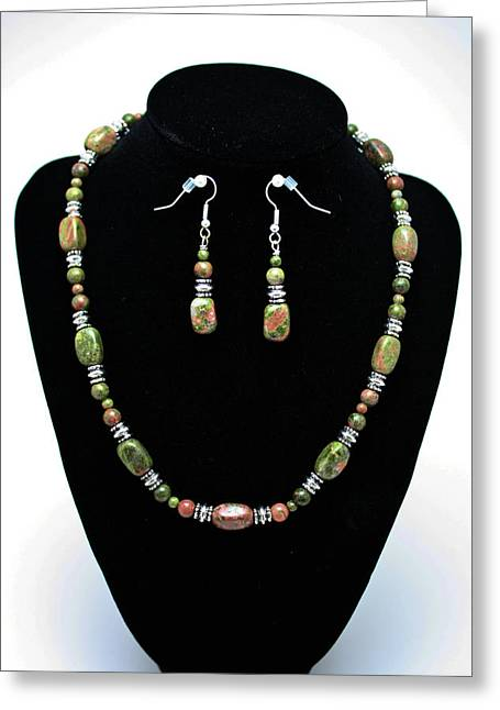 Handmade Silver Jewelry Jewelry Greeting Cards - 3565 Unakite Necklace and Earrings Set Greeting Card by Teresa Mucha