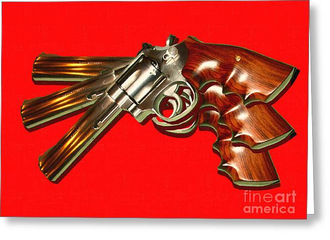 357 Greeting Cards - 357 Magnum - Painterly - Red Greeting Card by Wingsdomain Art and Photography