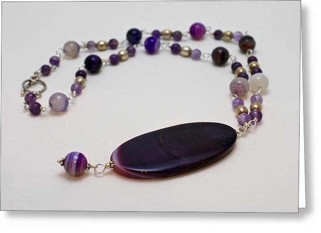 Handmade Silver Jewelry Jewelry Greeting Cards - 3573 Banded Agate Necklace  Greeting Card by Teresa Mucha