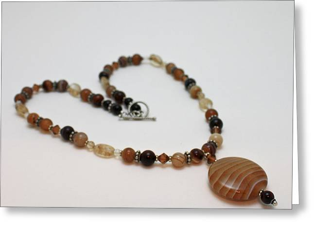 Silver Necklace Jewelry Greeting Cards - 3574 Coffee Onyx Necklace Greeting Card by Teresa Mucha
