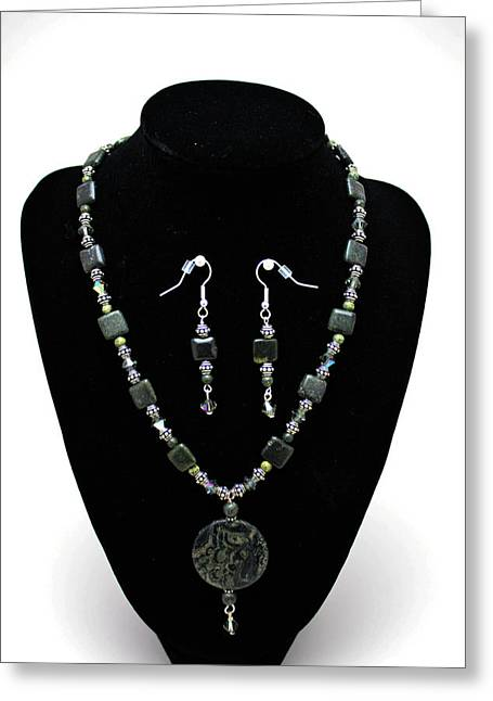 Handmade Silver Jewelry Jewelry Greeting Cards - 3576 Kambaba and Green Lace Jasper Necklace and Earrings Greeting Card by Teresa Mucha