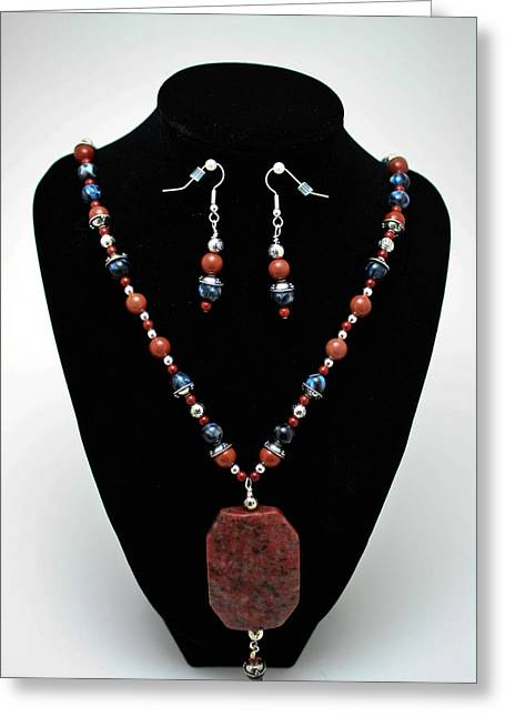 Handmade Silver Jewelry Jewelry Greeting Cards - 3578 Jasper and Agate Long Necklace and Earrings Set Greeting Card by Teresa Mucha