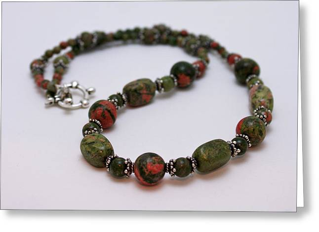 Handmade Silver Jewelry Jewelry Greeting Cards - 3579 Unakite Necklace  Greeting Card by Teresa Mucha
