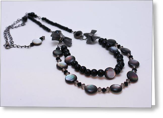 Beaded Jewelry Jewelry Greeting Cards - 3587 Fun Gunmetal Necklace  Greeting Card by Teresa Mucha