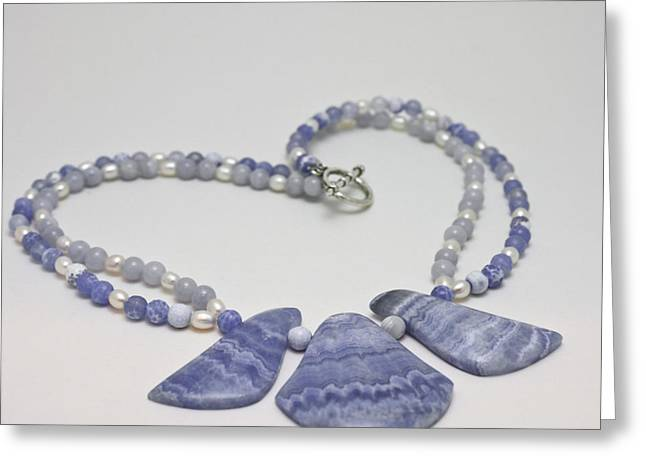 Beaded Jewelry Jewelry Greeting Cards - 3588 Blue Banded Agate Necklace Greeting Card by Teresa Mucha